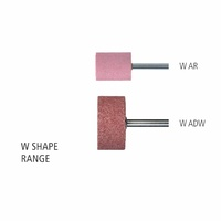 "W Shape Cylindrical 1/4"" & 6.0mm Shank Aluminium Oxide - Pink - O Hardness"