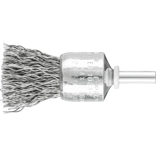Pencil Brushes 6mm Shaft Mounted PBU - Crimped STEEL Wire - Various Sizes